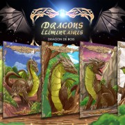 Illustrations de cartes du dragon de bois.