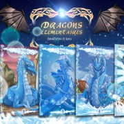 Illustrations de cartes du dragon de l'eau.