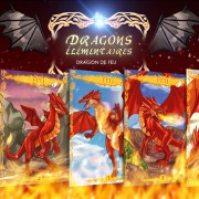 Illustrations de cartes du dragon de feu.